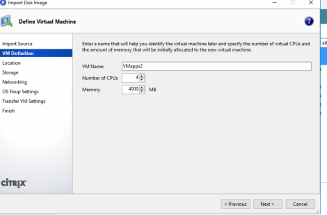 Migrate Windows Server 2003 R2 Physical to CITRIX XenServer